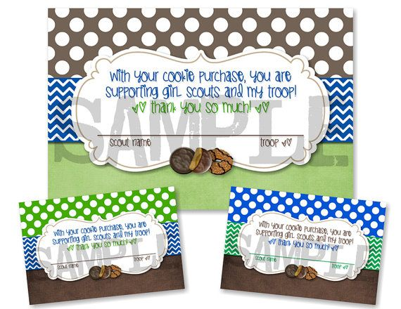 girl scouts cookie purchase thank you card three 4x6. Black Bedroom Furniture Sets. Home Design Ideas