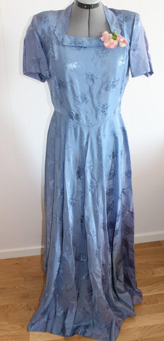 robe en soie des années 1940, les femmes robe Vintage des années 40, années 1940 violet robe de robe, robe de mariée, des années 1940, robe des années 1940 moyenne, en soie,