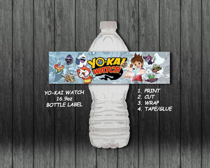 Yo-Kai Watch 16.9oz Bottle Label / Party by AnimeInvitations