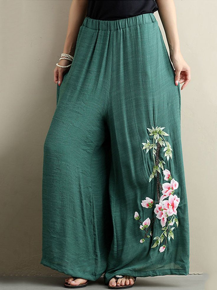 Vintage Embroidered Elastic Waist Wide Leg Pants For Women