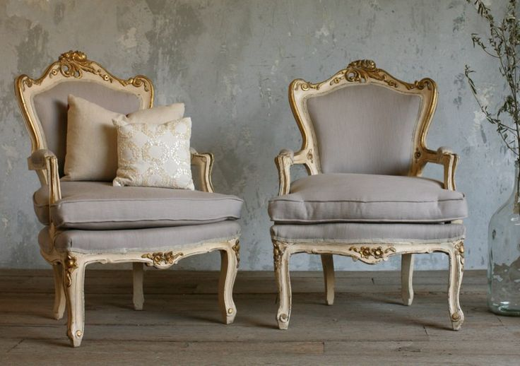Vintage Louis XV French Style Shabby Cream Gilt Wood  Pair Chairs-antique, gilt,rococo,burlap,country,upholstered,furniture, armchairs,dining,
