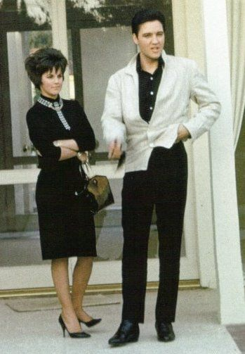 Elvis and Priscilla in California. I think She looks great in this photo. Elvis always picked our her clothes so they matched.