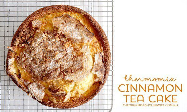 A super quick and simple cinnamon tea cake in the Thermomix. A delicious buttery cake with a crust cinnamon top. Perfect for afternoon tea or after school