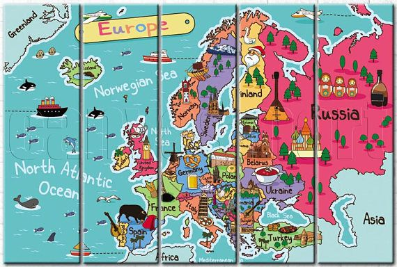 Kids Blue Abstract Europe Map Diptych Triptych Multi Panel