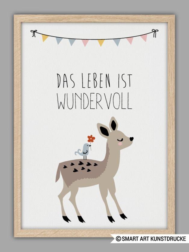 Kunstdruck als Geschenk zur Geburt oder Taufe / typo and illustrated artprint, birthday gift by Smart-Art-Kunstdrucke via DaWanda.com
