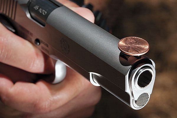 Dry fire skills at home, without wasting precious ammo. One basic drill that helps you focus on trigger control and sight alignment is the penny drill.