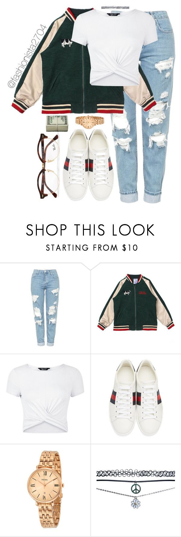 """Untitled #899"" by fashionista2704 ❤ liked on Polyvore featuring Topshop, New Look, Gucci, Wet Seal and Ray-Ban"