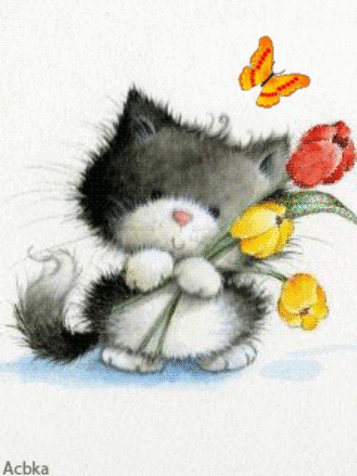 Аватар Созвездие тельца на котенке между цветов голубых незабудок
