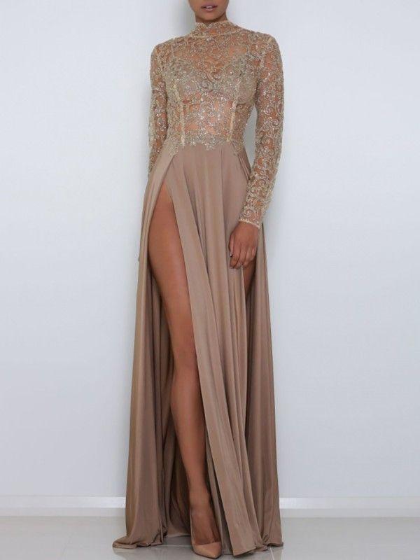 Sequins High Slit Gown Maxi Dress  f10b45fa8d70
