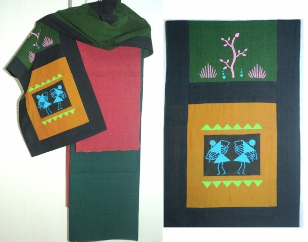 A Deep green cotton stole (2 metre x 14 inches) with hand painted warli motifs black border.    A lovely Pink-red pure Handloom Mangalgiri fabric for kurta(2.25 metre)    Green cotton fabric for salwar/chudidar (2.25 metre)