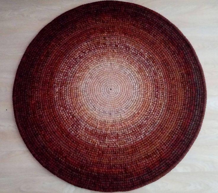 Crochet round rug, 47'' (120 cm)/Crochet Rug/Rugs/Rug/Area Rugs/Floor Rugs/Large Rugs/Handmade Rug/Carpet/Wool Rug by AnuszkaDesign on Etsy