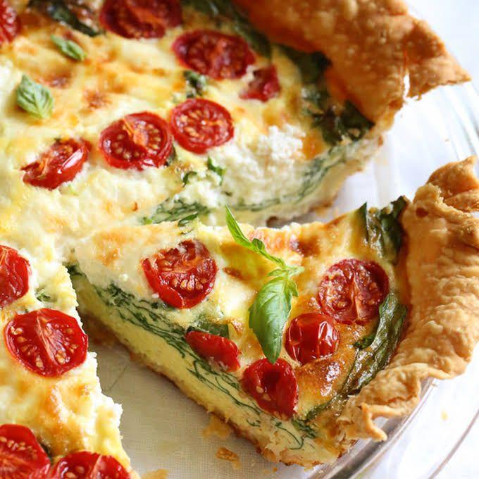 Spinach Ricotta Quiche Recipe Yummly Recipe Vegetarian Quiche Recipes Quiche Recipes Basic Quiche Recipe