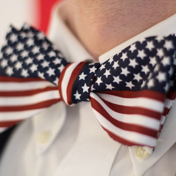 American Gentleman Bow Tie by America Party Gear.  American Flag Self Tie Bow Tie. www.AmericaPartyGear.com