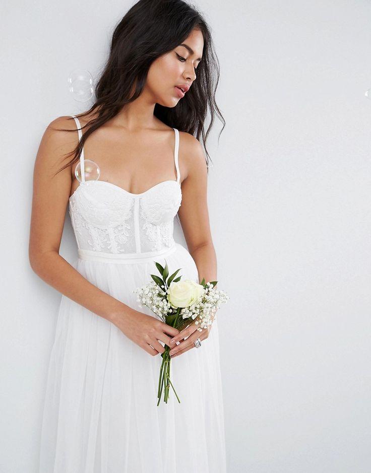 ASOS BRIDAL Corset Detail Maxi Dress with Tulle Skirt - Cream