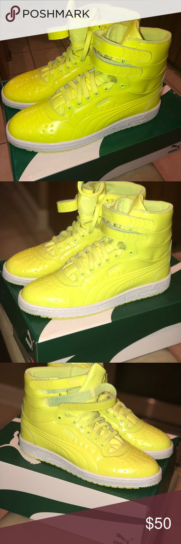 Sky ll Hi Patent Emboss New pair of Puma shoes for boys and men's size 10 NEW  color safety yellow Puma Shoes Sneakers