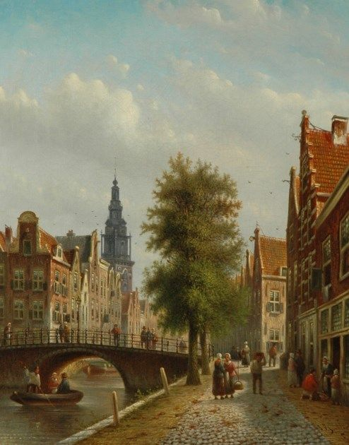 Johannes Franciscus Spohler (Rotterdam 1853-1894 Amsterdam) A dutch town view with the Amsterdamse Zuiderkerk - Dutch Art Gallery Simonis and Buunk Ede, Netherlands.