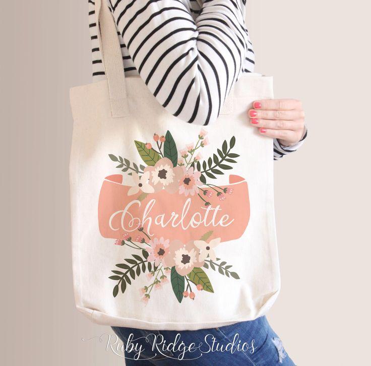 Personalised Name Floral Banner Tote Bag, Bridesmaid Tote Bag, Bridesmaid Gift, Custom Floral Tote Bag by RubyRidgeStudios on Etsy https://www.etsy.com/listing/232453208/personalised-name-floral-banner-tote-bag