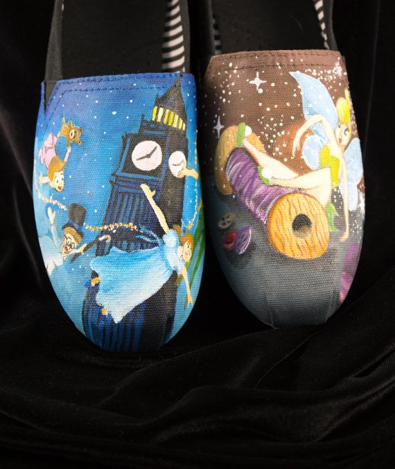 Hand painted Bob shoes with two Scenes from Peter Pan on Etsy, $165.00 - want these so bad