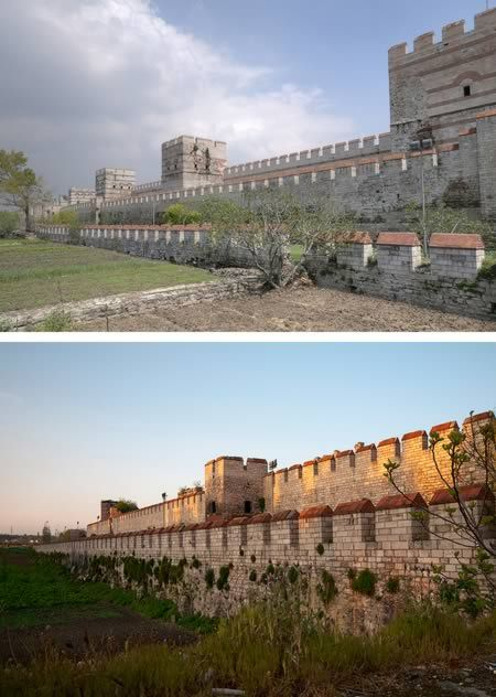The great triple layer Theodosian Walls of Constantinople.