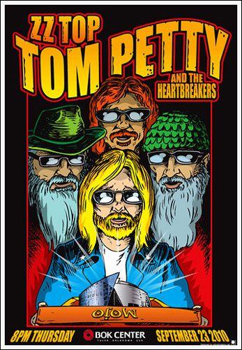 ☮ American Hippie Rock Metal Music Poster ~ Tom Petty/ZZ Top