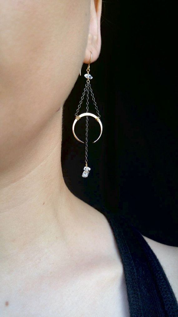Moon Drop Earrings - Boho, Crescents, Herkimer Diamonds, Oxidized Sterling…