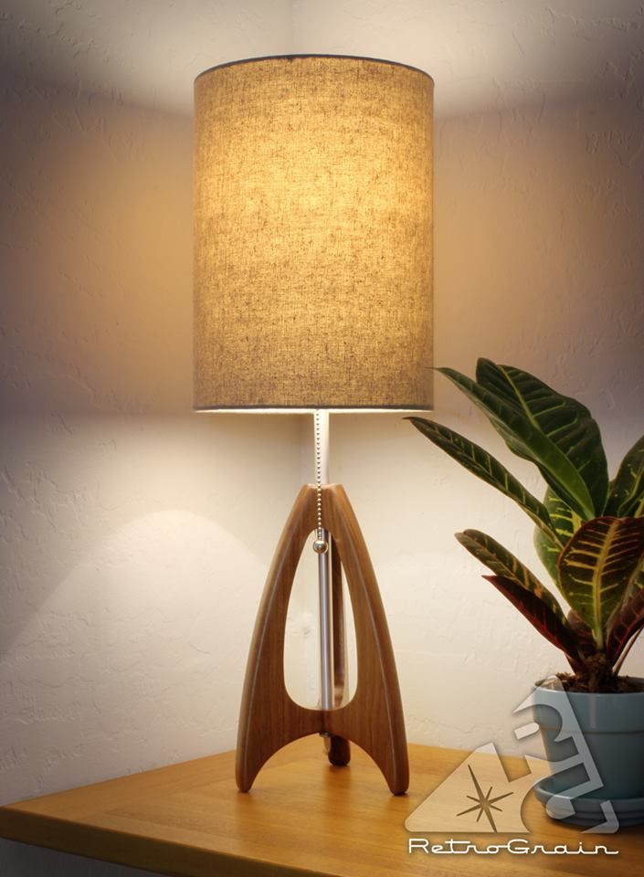 Tripod Table Lamp Mid Century Style Walnut Wood Burlap Etsy Mid Century Table Lamp Mid Century Modern Lamps Table Lamp