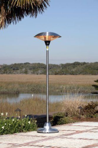 Stainless Steel Floor Standing Round Halogen Patio Heater by Fire Sense. $182.03. Our Stainless Steel Floor Standing Round Halogen Patio Heater introduces a new revolution in outdoor heating. This halogen patio heater runs on regular household electric current and is substantially less expensive to operate than propane patio heaters. This adaptable unit can be used indoors and outdoors and has three heat settings.