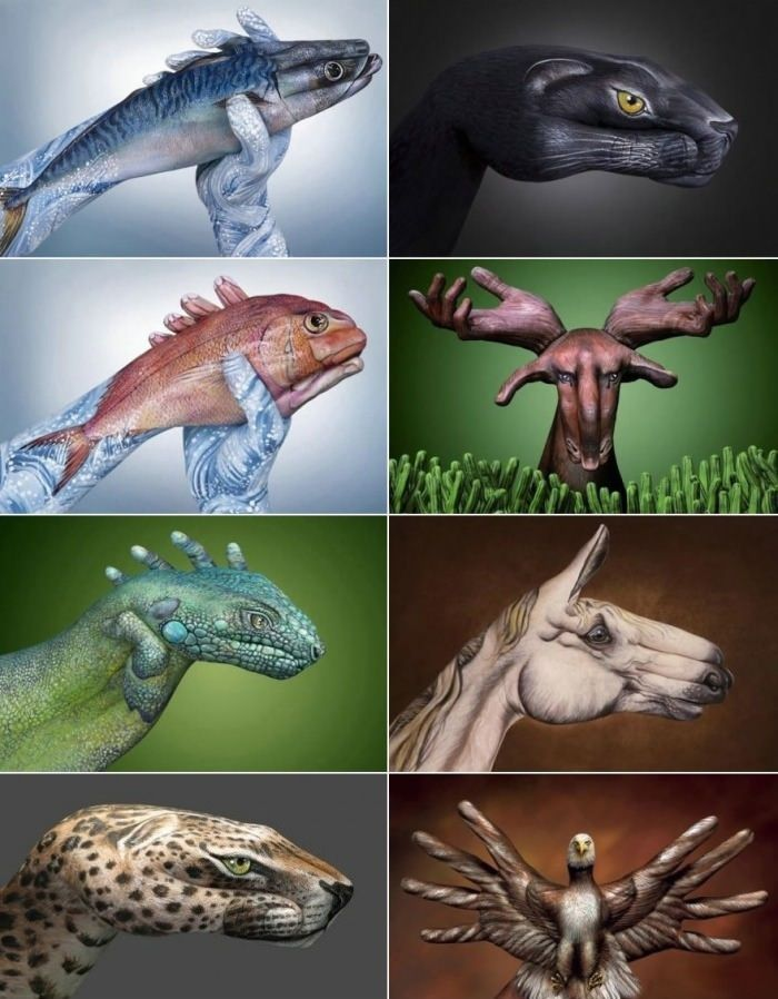 Animals painted on hands