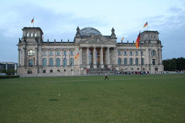 Germany Berlin Reichstag Evening