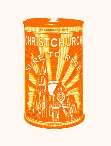 """Buy a Sure to Rise tea towel   Earthquake Tea Towel. Designed by Christchurch's God Save the Queen, the teatowell marks the 2011 earthquake that collapsed the Christchurch Cathedral. It has echoes of New Zealand's Edmonds """"Sure to rise"""" slogan on their baking powder tins and their factory which was, sadly, demolished to make way for a service station some years ago."""