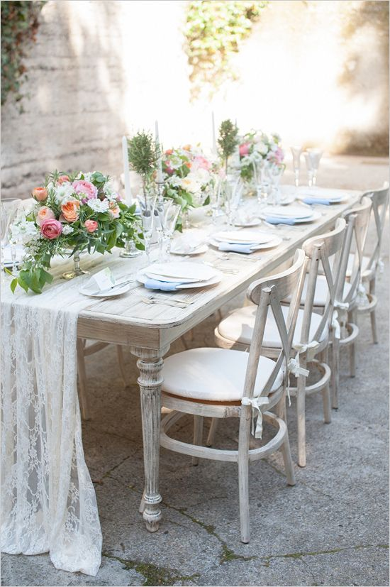 clean white and blue table decor