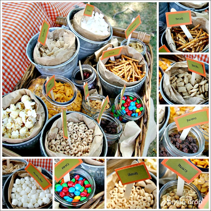 trail mix buffet served in tin pails and mason jars