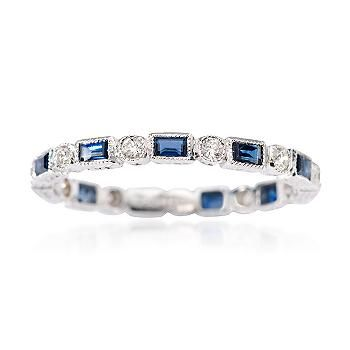 Sapphire and Diamond Eternity Band In 18kt White Gold. >>Click on the Wedding Band to see more styles from Ross-Simons.