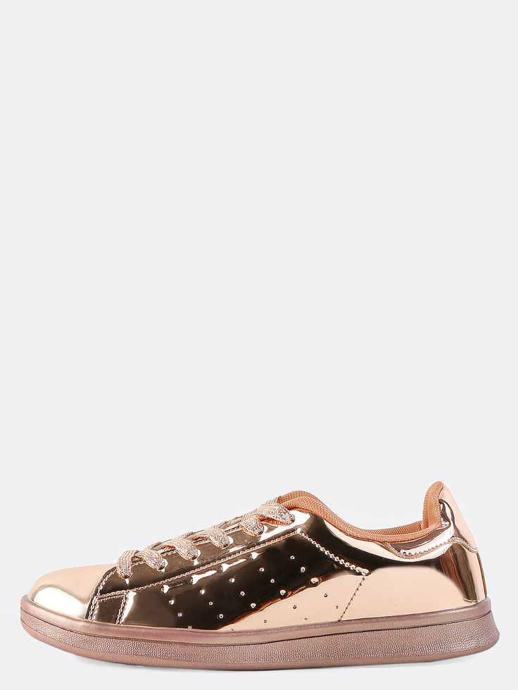 """Get that luxe and lavish look with the Metallic Round Toe Sneakers! Features a metallic upper, round toe, and glitter flat laces. Finished with a .75"""" flat heel. Complete the look with leggings and a sporty windbreaker. #rosegold #metallic #MakeMeChic #style #fashion #newarrivals #fall16"""