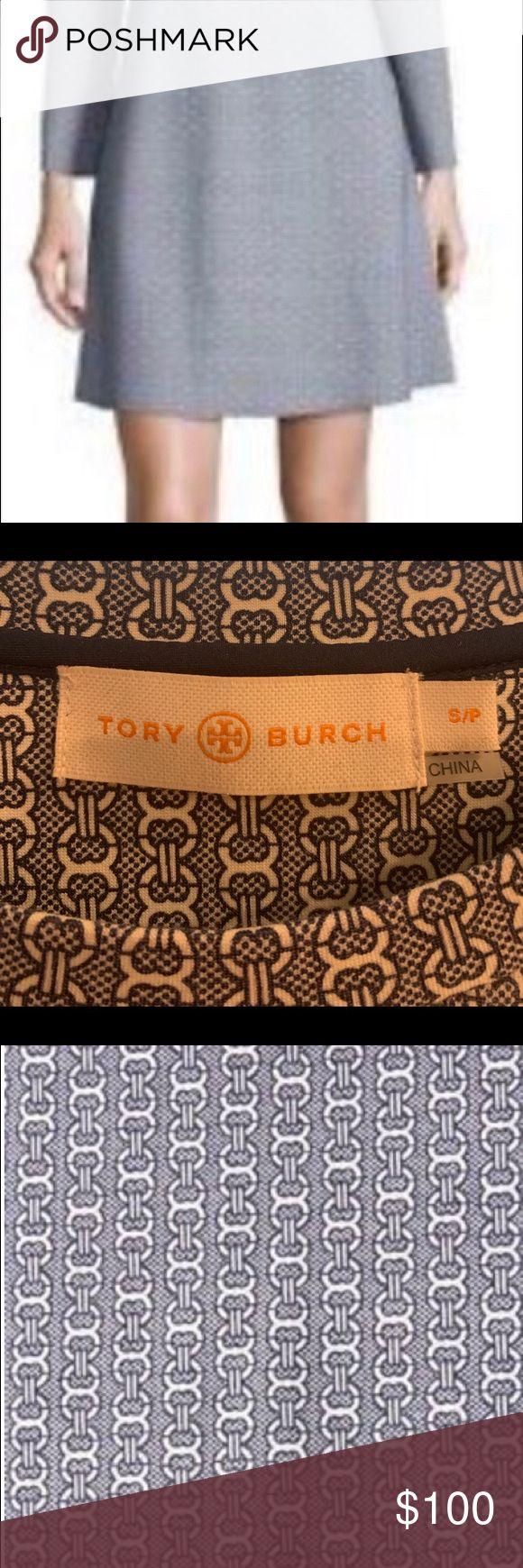 Tory Burch Corinne Blue Chain Link Pattern A-Line …