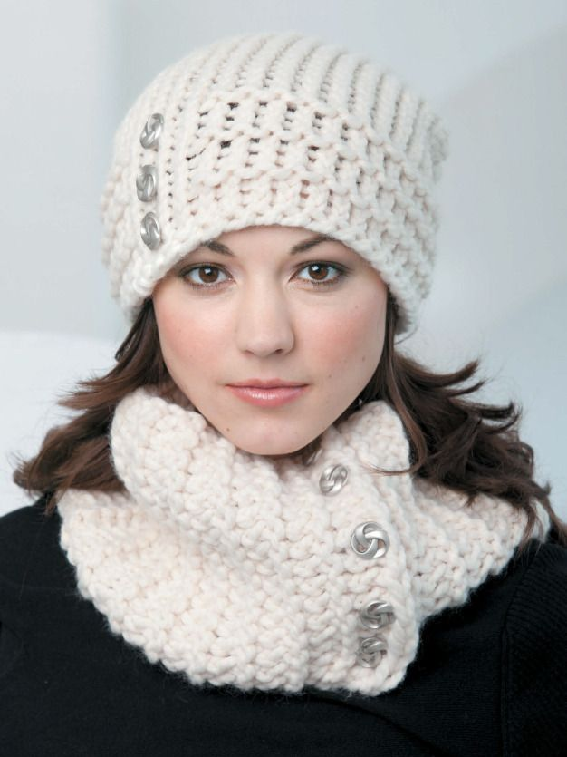 Loom knit slouchy beanie and cowl.
