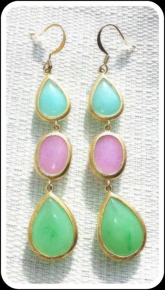 Triple Drop Stone Earrings by micheleleiserdesigns on Etsy, $38.00