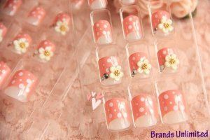 24pcs Pink Polka Dot & Flower Fashion 3D Acrylic Party False Nail Art (24 Tips + Glue) by Myvista Brands. $6.99. 24 tips per box, in 6 sizes. Suitable for use with Acrylic, Gel or Fibreglass applicant.. 100% Brand New & High quality. 1 box of pre-design nail art false tips with glue. Perfect for instant nail decoration, pre-designed 3D false nails   Make your nails look beautifully designed and elegant   Transform the look of your nails and stand out from the cr...