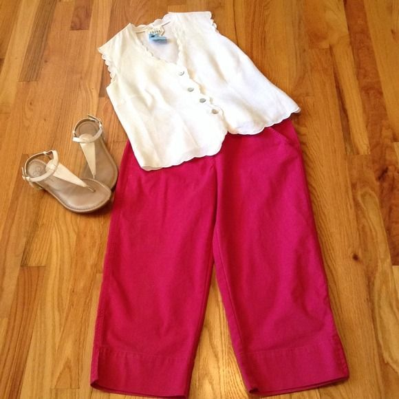 """Fuchsia Capris by Tablots Beautiful color great for spring and summer!!!  Front side pockets and 2 back pockets. Cuffs have a small slit. 20"""" inseam and 14"""" waist.  Pants do have stretch. Talbots Pants Capris"""