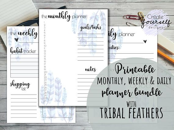 Printable planner printable monthly weekly daily planner