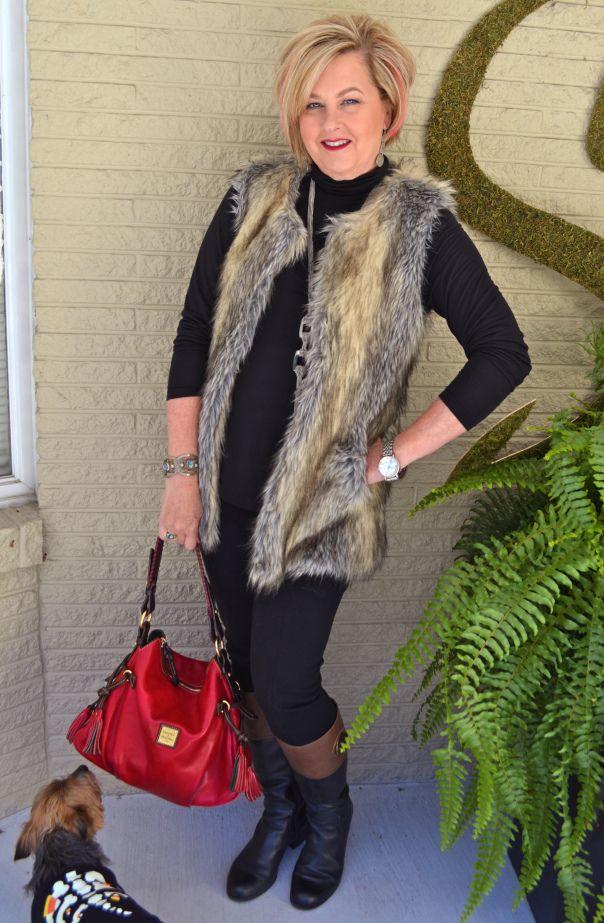 Fashion over 40. Fur vest fall fashion trend.
