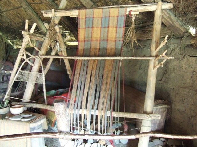 Iron Age Warp-Weighted Archaic Roman loom in reconstructed round houses from Castell Henllys, South Wales,UK. Oppstadvev fra rekonstruerte r...