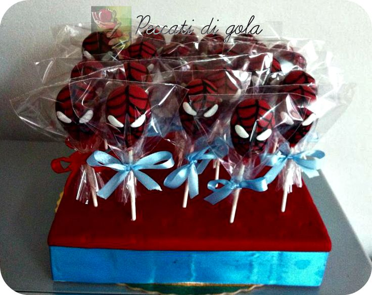 Spiderman cake pops for Cesare's sweet table ...