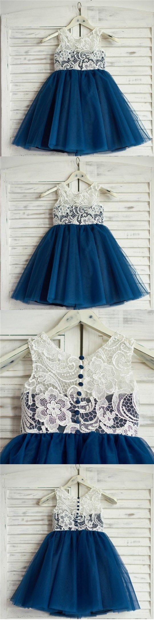 Top Lace Tulle Sleeveless Zipper Back Lovely Pretty Flower Girl Dresses , FG0085