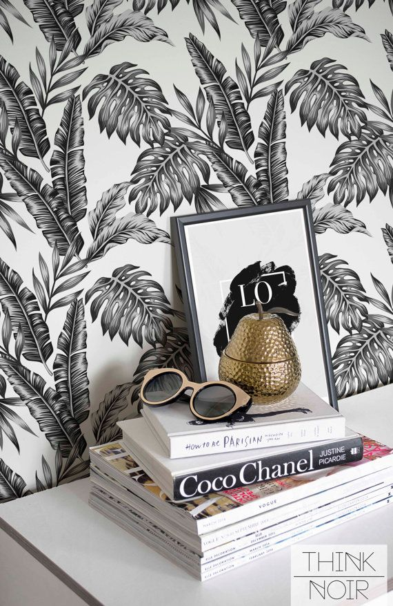 Exotic Palm Leaf Wallpaper / Self Adhesive by ThinkNoirWallpaper
