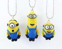 Minions despicable me inspired necklace - Minion Jewelry - Despicable Me Charms - handmade Minion - polymer clay Minion - Birthday gift