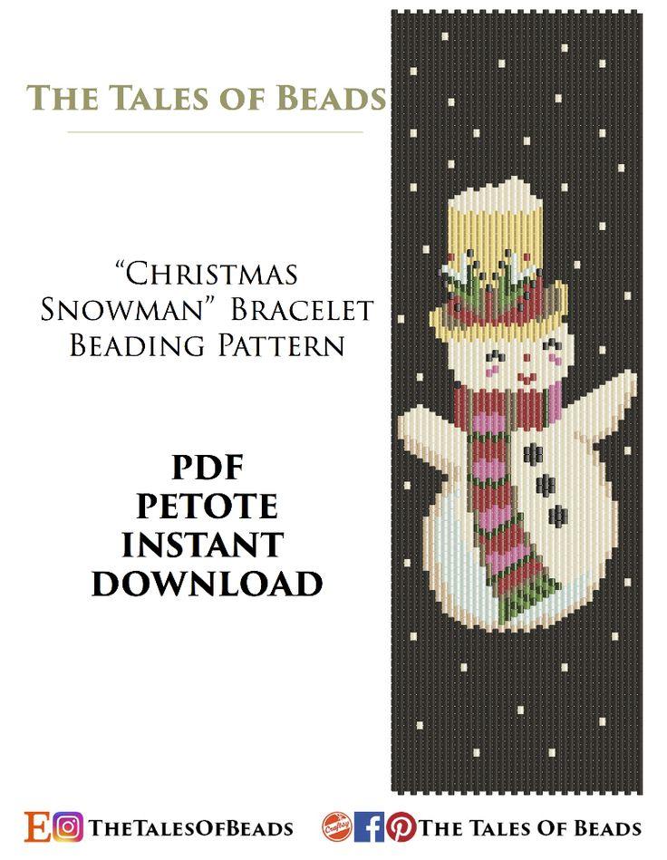 Christmas Beading Pattern - Snowman Peyote Pattern Bracelet Cuff - Christmas Seed Bead Pattern Miyuki - PDF Pattern Delica - Peyote Stitch #beadingpattern #beadingpatterns #peyote #peyotestitch #peyotepattern #payotestitchpattern #christmaspattern #christmas #snowman #beadedsnowman #snowmanpattern #seedbeedpattern #beadpattern #beadpatterns #seedbeadpatterns #miyukibeads #miyukidelica #miyukidelicapattern #delicapattern #miyukiperles