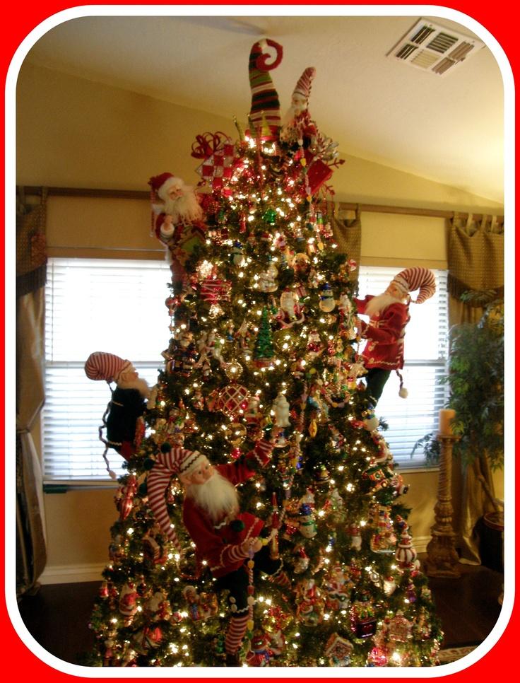 Christopher radko christmas tree with elves decorating