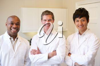 Portrait Of Three Doctors In American Hospital