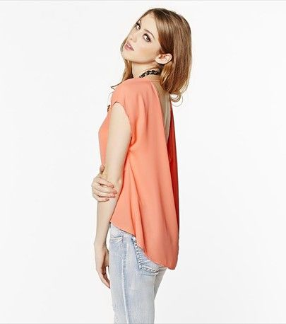You'll love this ultra feminine draped back tee in coral!